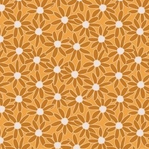 Single Daisy hand drawn in warm mustards and orange: large scale for kids apparel and home decor items