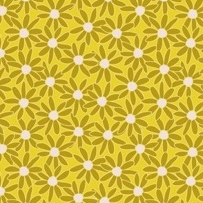 Single Daisy hand drawn in lemon yellows and mustards: large scale for kids apparel and home decor items