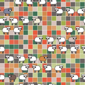 Take a Hike: Wooley Sheep in an autumn meadow - large scale for wallpaper and soft furnishings