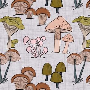 Vintage retro mushrooms grey background