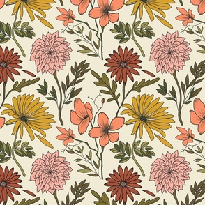 retro florals vintage fall autumn muted