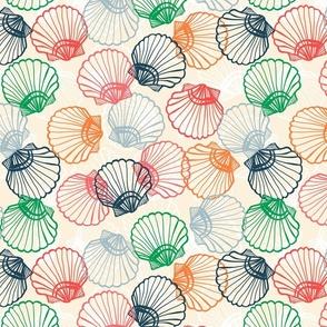 Sea shells summer on the beach sand