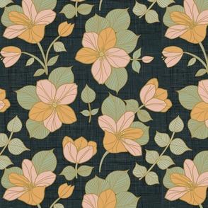 vintage retro florals flowers dark background