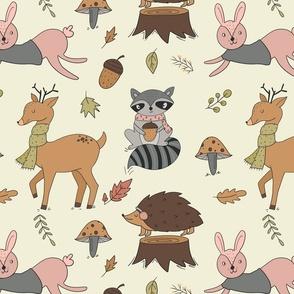 Woodland animals rabbit racoon deer hedgehog in sweater weather on beige neutral