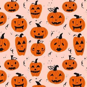 Halloween pumpkin jack 'o lantern pink background