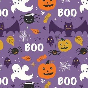 Purple Halloween Ghouls Spiders Bats