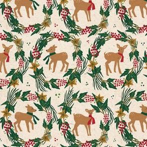 Woodland animals deer Christmas  on beige background with wreath berries