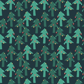 Christmas trees on dark background