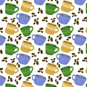 Cute Coffee Cups with Coffee Beans in Yellow and Blue