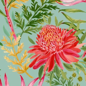 Painted Protea bluegreen large