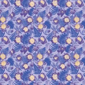 Purple and Periwinkle Peonies with Beige and Gold on Periwinkle