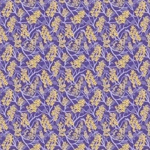 Periwinkle, Indigo, and Purple with Gold Chesnut Flowers