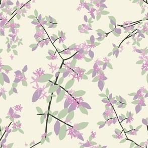 Celedon, Artichoke, Lilac, and Purple Honeysuckle on Beige