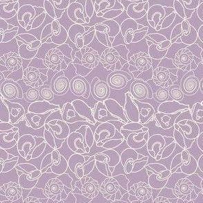 Ivory Whelk Shells on Lilac