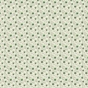 Mint with Artichoke on Beige Daffodil dots