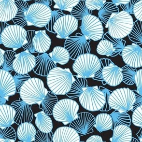 Cornflower Blue on Charcoal Scallop Pile