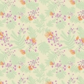 Tangerine Mimosa blooms with Mint and Lilac on Cornsilk