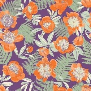 Orange Peonies and Sage Ferns on Purple