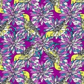 small_lemon_yellow_birds_on_purple_background
