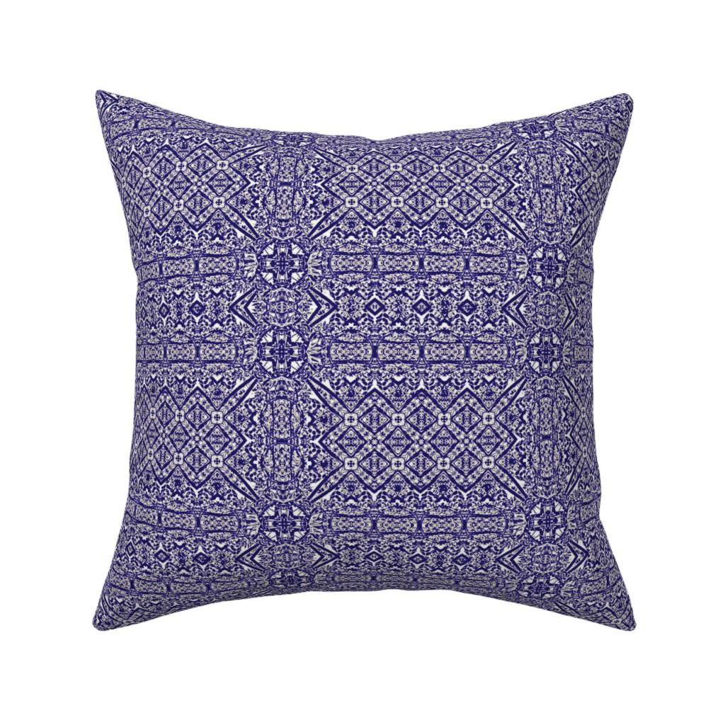 Catalan Throw Pillow featuring Blue Formal Gardens by wren_leyland