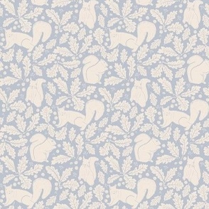 Small Squirrel Acorns Oak Leaves in Soft Pastel Blue