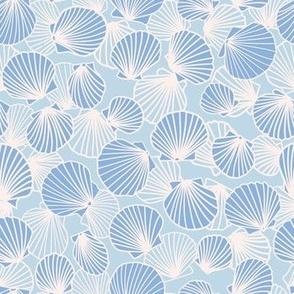 Ecru, Baby Blue, Cornflower Blue Scallop Pile