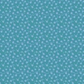 Teal and Cornflower Blue Gum Pod Dots