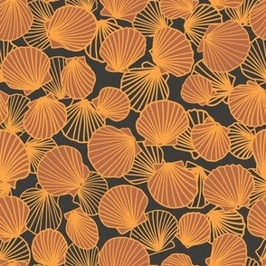Sienna Orange and Charcoal Scallop Pile