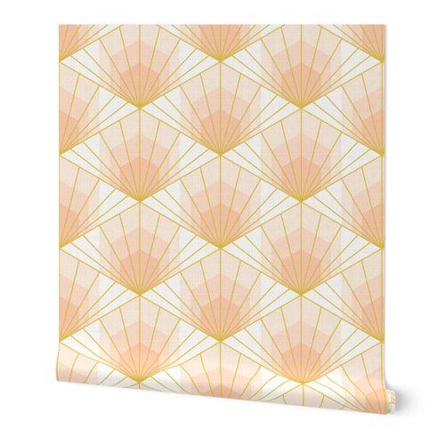 Hex Deco Sunrise L wallpaper scale in apricot by Pippa Shaw