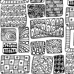 Zen-diggity patchwork  - black and white