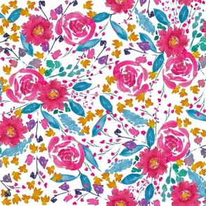 Cranberry and Teal Floral