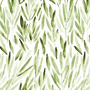 Kelly green eucalyptus leaves - watercolor nature p171-1-8