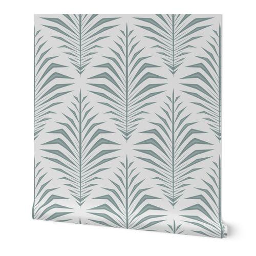 Geometric Palm Leaves Neutral Green Ivory