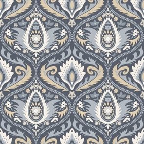 ogee wallpaper dusty blue   large jumbo scale