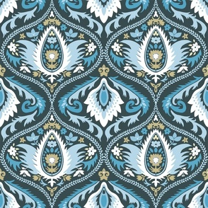 ogee wallpaper blue and white   large jumbo scale