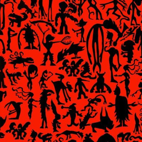Silhouette monster Black and Red