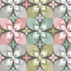 Retro floral geometric