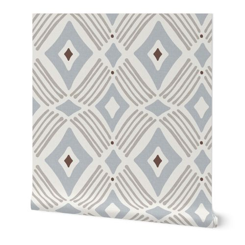 Tarak - Textured Geometric - Beige Taupe Blue Grey Large Scale