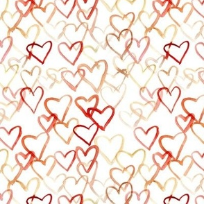 Rust and vermilion love vibes - watercolor hearts for saint valentines - romantic cute heart a519-1