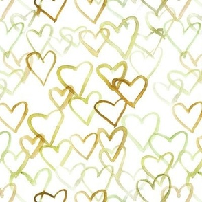 mustard love vibes - watercolor hearts for saint valentines - romantic cute heart a519-2