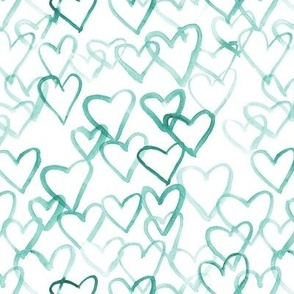 emerald love vibes - watercolor hearts for saint valentines - romantic cute heart a519-10