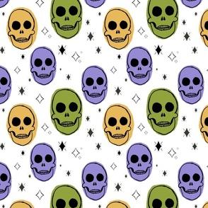 Purple and Green Spooky Skull Pattern
