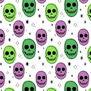 Yellow and Green Spooky Skull Pattern