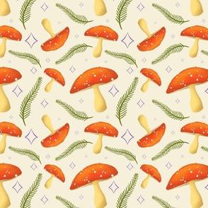 Cute Mushroom, Diamond, and Fern Pattern