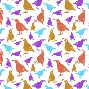 Quirky Quail Pattern in Gold and Blue