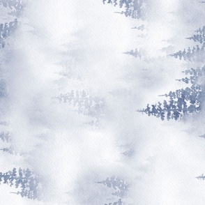 Through the trees – watercolor misty forest – rotate 90 degrees