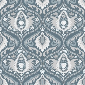 ogee wallpaper bluish gray   large jumbo scale
