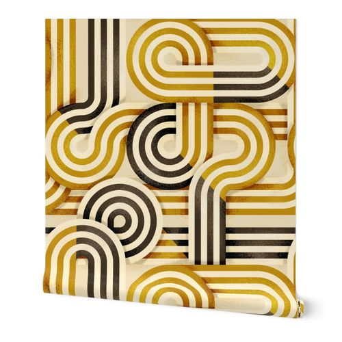 Mid-Century Stripes (big scale) gold and brown