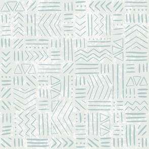 Chevron, Lines, Dots - Textured, Loose Geometric - blue green - medium