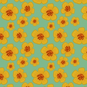 Arizona Yellow Poppy Repeating Floral Pattern With Teal Background